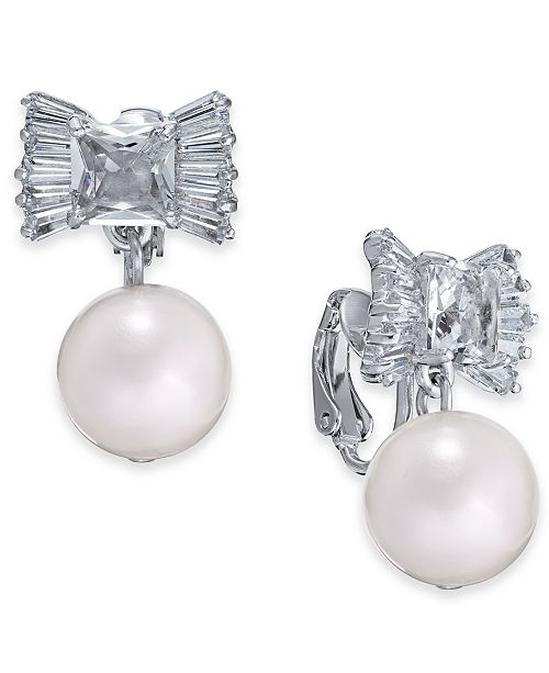 974b166be200a1 ... kate spade new york Silver-Tone Crystal Bow & Imitation Pearl Clip-On  Drop ...
