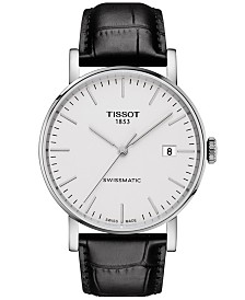 Tissot Men's Swiss Automatic T-Classic Everytime Swissmatic Black Leather Strap Watch 40mm