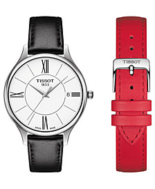 Tissot Women's Swiss T-Lady Bella Ora Interchangeable Black & Red Leather Strap Watch 38mm