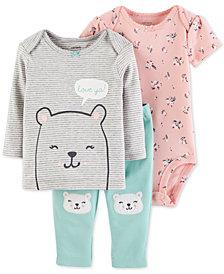 Carter's Baby Girls 3-Pc. Love Ya Cotton Top, Bodysuit & Pants Set