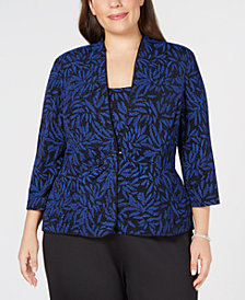 Alex Evenings Plus Size Glitter-Print Jacket & Top
