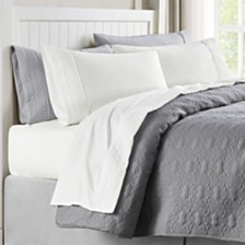 Quilted Hem Queen Microfiber Sheet Set