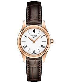 Tissot Women's Swiss T-Classic Tradition 5.5 Brown Leather Strap Watch 25mm