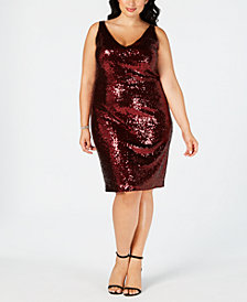 Nightway Plus Size Sleeveless Sequin Dress
