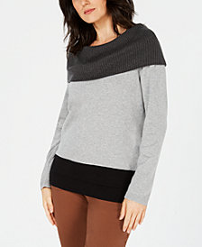 Karen Scott Petite Cotton Colorblocked Sweater, Created for Macy's