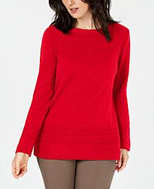 Karen Scott Cotton Ottoman-Stitch Boat-Neck Sweater, Created for Macy's