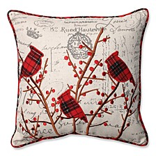 "Holiday Embroidered Cardinals 16.5"" Throw Pillow"