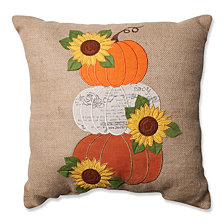 "Harvest Pumpkins & Sunflowers Burlap 16.5"" Throw Pillow"