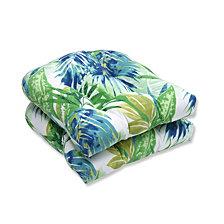 Soleil Blue/Green Wicker Seat Cushion, Set of 2