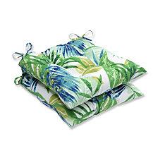 Soleil Blue/Green Wrought Iron Seat Cushion, Set of 2