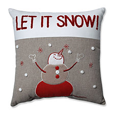 "Country Home Snowman Red/Biscuit 15.5"" Throw Pillow"