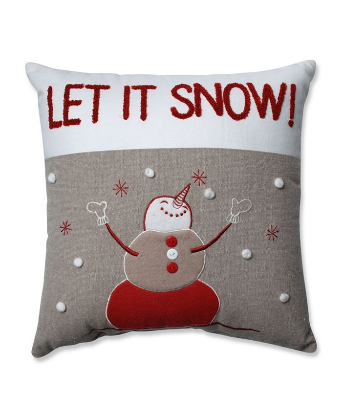 Pillow Perfect - Country Home Snowman Red/Biscuit 15.5-inch Throw Pillow