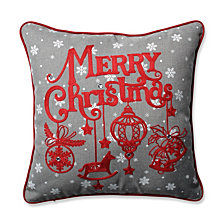 "Ornamental Christmas Grey-Red 16.5"" Throw Pillow"