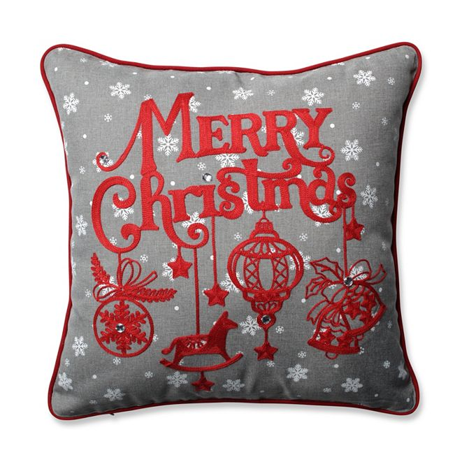 "Pillow Perfect Ornamental Christmas Grey-Red 16.5"" Throw Pillow"