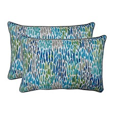 Make It Rain Cerulean Over-sized Rectangular Throw Pillow, Set of 2