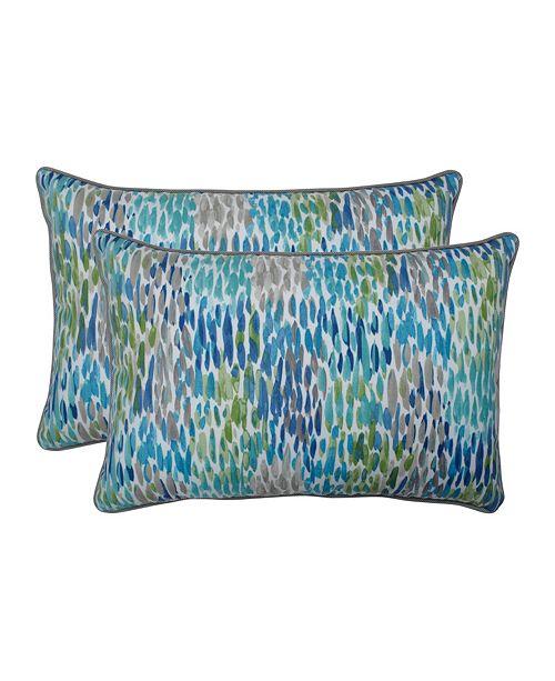 Pillow Perfect Make It Rain Cerulean Over-sized Rectangular Throw Pillow, Set of 2