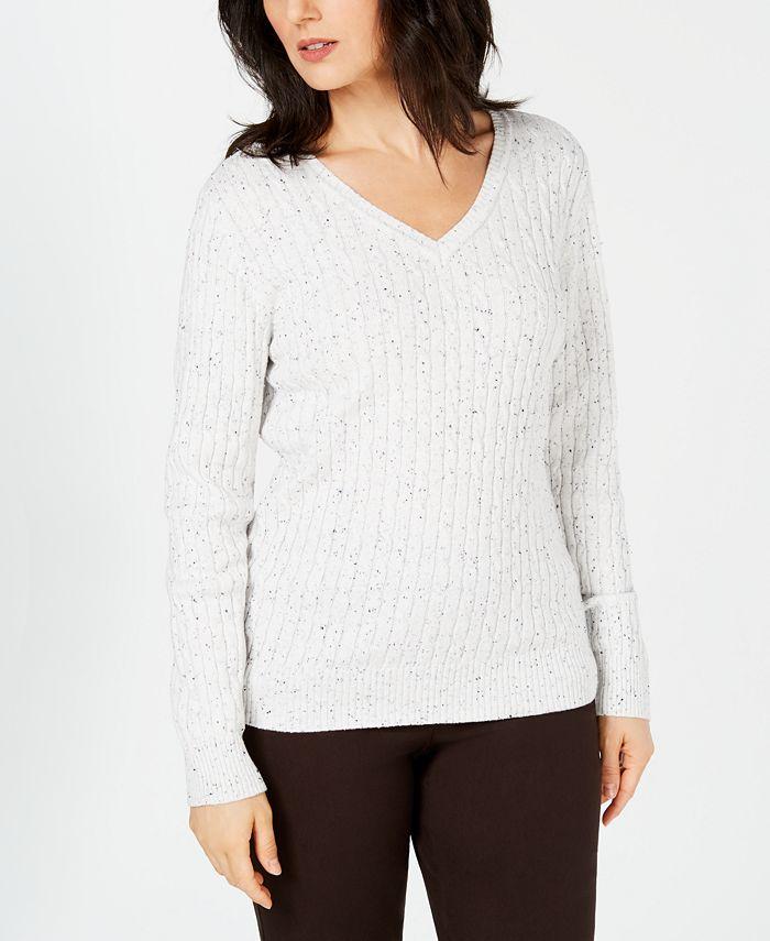 Karen Scott - Cable-Knit V-Neck Sweater
