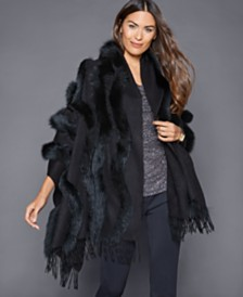 The Fur Vault Fox-Trim Cashmere Stole
