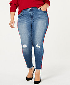 Seven7 Trendy Plus Size Striped Skinny Jeans