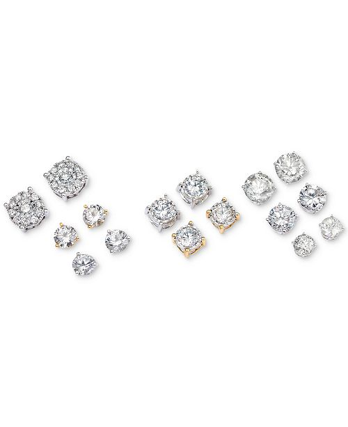 Macy S Diamond Stud Earrings In 14k White Gold 1 Ct T W Jewelry Watches