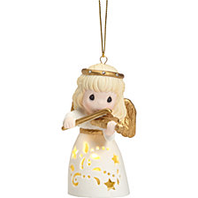 Precious Moments Christmas Is Music To My Ears Lighted Angel Ornament