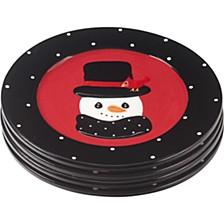 Snow Much Fun Set of Four Holiday Snowman Round Dessert Plates