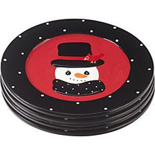 Precious Moments Snow Much Fun Set of Four Holiday Snowman Round Dessert Plates