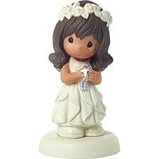 May His Light Shine Brunette Girl First Communion Figurine
