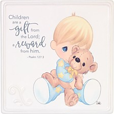 Children Are A Gift Boy With Teddy Bear Wall Plaque
