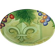 Ne'Qwa Art Hand-Painted Glass Fleur De Lis Vines Serving Plate