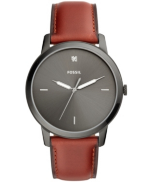 Image of Fossil Men's Minimalist Carbon Series Diamond Brown Leather Strap Watch 44mm