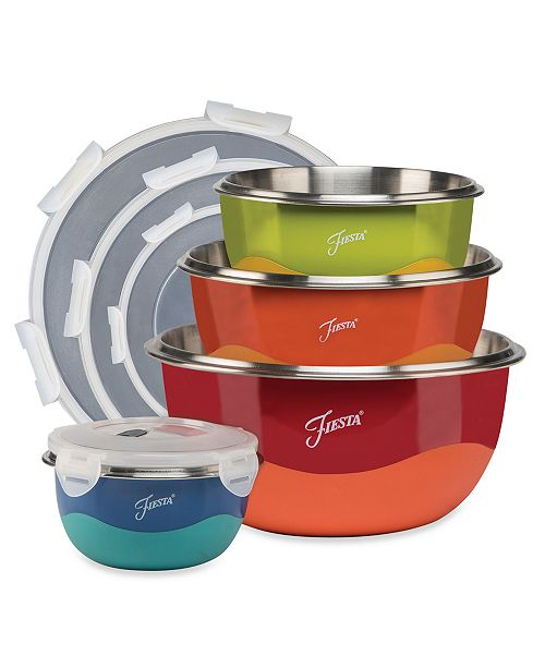 Fiesta 8-Pc. Microwave-Safe Covered Mixing Bowl Set