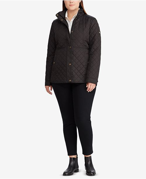 Lauren Ralph Lauren Plus Size Faux-Leather-Trim Quilted Jacket, Created for Macy's