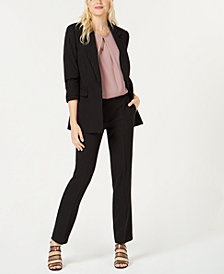 Bar III Pinstriped Blazer, Keyhole Top & Trousers, Created for Macy's