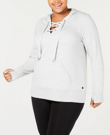 Ideology Plus Size Lace-Up Hoodie, Created for Macy's