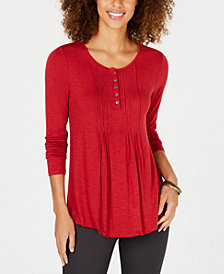 Style & Co Long-Sleeve Pintuck Top, Created for Macy's