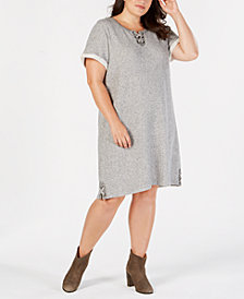 Style & Co Plus Size Lace-Up Swing Dress, Created for Macy's