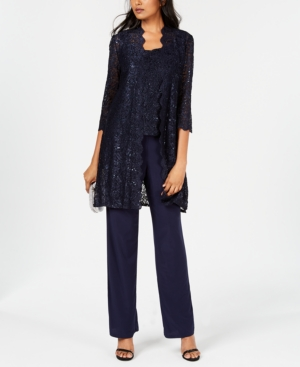 Did Women Wear Pants in the 1920s? Yes! sort of… R  M Richards 3-Pc. Sequined Lace Pantsuit  Jacket $119.00 AT vintagedancer.com
