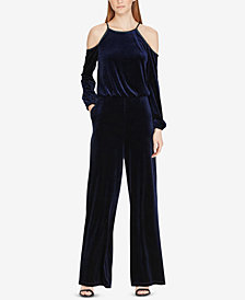 Lauren Ralph Lauren Velvet Cold-Shoulder Jumpsuit