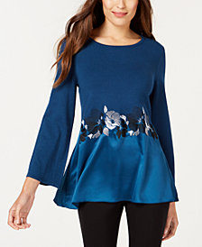 Alfani Petite Embroidered Bell-Sleeve Top, Created for Macy's