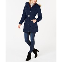 Deals on Tommy Hilfiger Faux-Fur-Trim Hooded Belted Puffer Coat