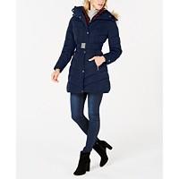 Deals on Tommy Hilfiger Faux-Fur-Trim Hooded Belted Puffer Coat