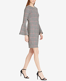 Lauren Ralph Lauren Petite Windowpane Houndstooth Bell-Sleeve Dress