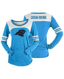 Women's Carolina Panthers Tri-Blend Distressed Long Sleeve T-Shirt