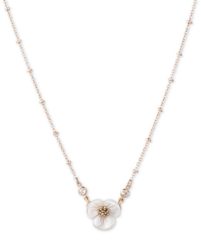 """lonna & lilly - Gold-Tone Crystal & Imitation Mother-of-Pearl Flower Pendant Necklace, 16"""" + 3"""" extender"""