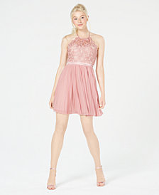 Sequin Hearts Juniors' Chiffon Fit & Flare Dress