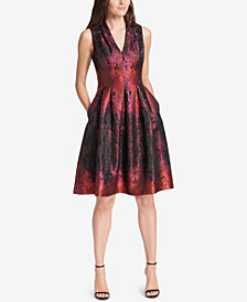 Vince Camuto Metallic Jacquard Fit & Flare Dress