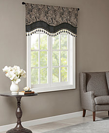 "Madison Park Aubrey 50"" x 18"" Jacquard Rod Pocket Window Valance With Beads"