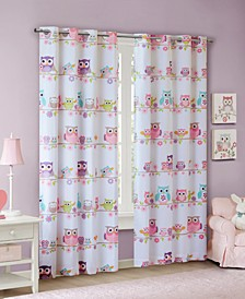 Wise Wendy Owl Printed Blackout Grommets Window Panels