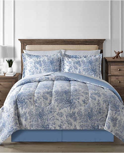 Fairfield Square Collection CLOSEOUT! Floral Toile 8-Pc. Reversible Comforter Set